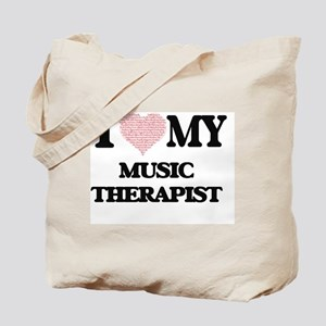 I love my Music Therapist (Heart Made fro Tote Bag