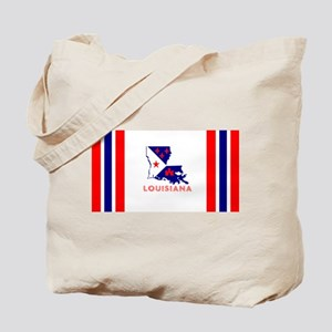 Louisiana Acadiana Red Blue White Stripes Tote Bag