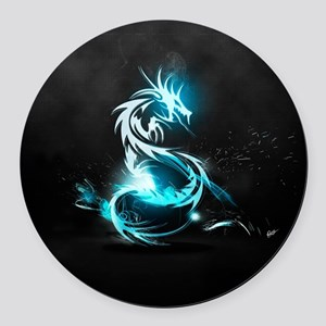 Glowing Dragon Round Car Magnet