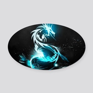 Glowing Dragon Oval Car Magnet
