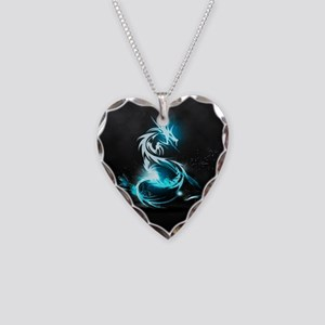 Glowing Dragon Necklace Heart Charm