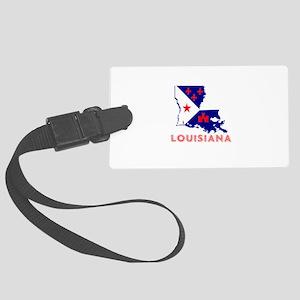 Louisiana Acadiana Red Blue Whit Large Luggage Tag