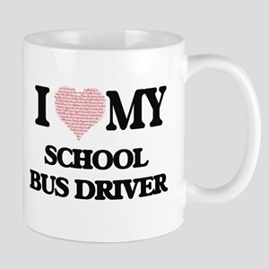 I love my School Bus Driver (Heart Made from Mugs