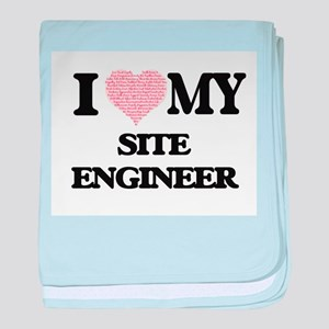 I love my Site Engineer (Heart Made f baby blanket