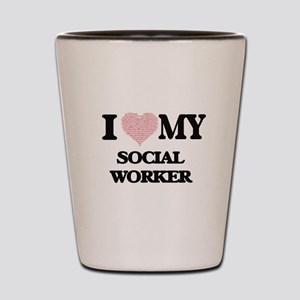 I love my Social Worker (Heart Made fro Shot Glass