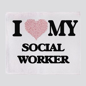 I love my Social Worker (Heart Made Throw Blanket