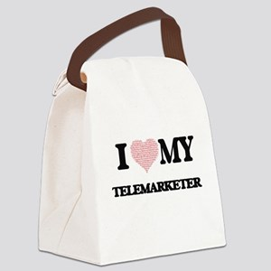 I love my Telemarketer (Heart Mad Canvas Lunch Bag