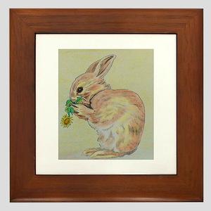 Easter Bunny with flower Framed Tile