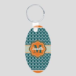Monogrammed Name Horseshoe Aluminum Oval Keychain