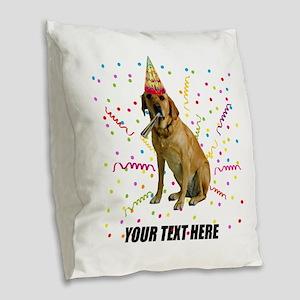 Custom Yellow Lab Burlap Throw Pillow