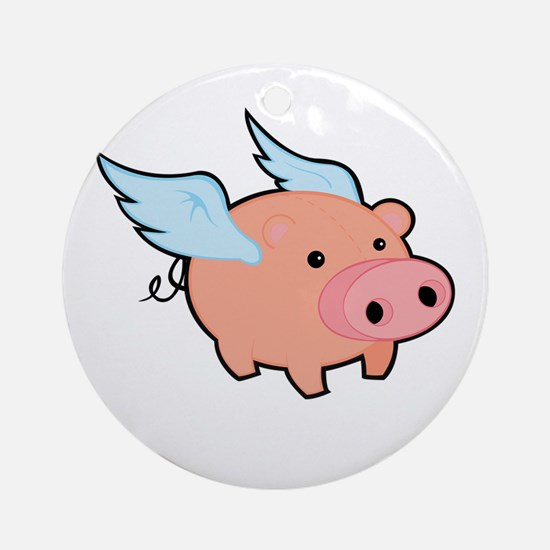 Pigs fly Round Ornament