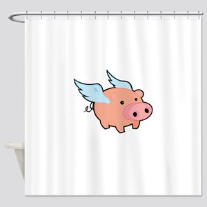Pigs fly Shower Curtain