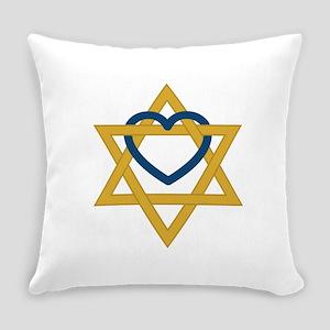 Star Of David Heart Everyday Pillow
