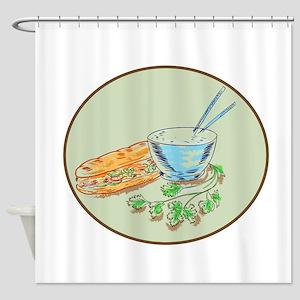 Bánh Mì Sandwich and Rice Bowl Drawing Shower Curt