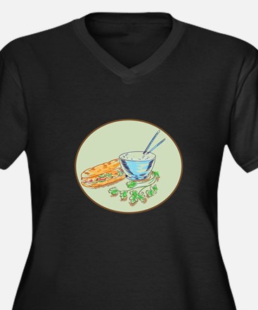 Bánh Mì Sandwich and Rice Bowl Drawing Plus Size T
