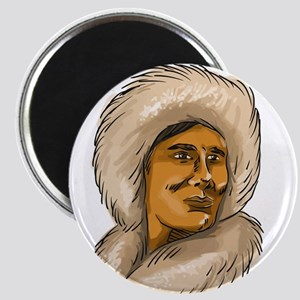 Eskimo Inuit Hooded Parka Watercolor Magnets
