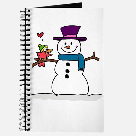 Snowman bird love christmas Journal