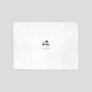 Snowman bird love christmas 5'x7'Area Rug