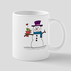 Snowman bird love christmas Mugs