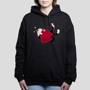 Black White Cat Heart Women's Hooded Sweatshirt