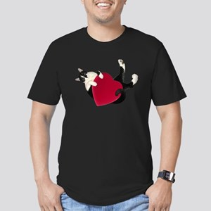 Black White Cat Heart T-Shirt
