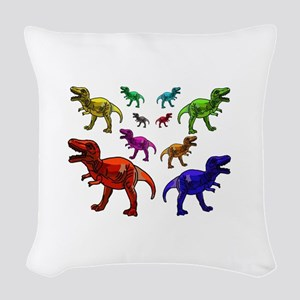 Rainbow Dinosaurs Woven Throw Pillow