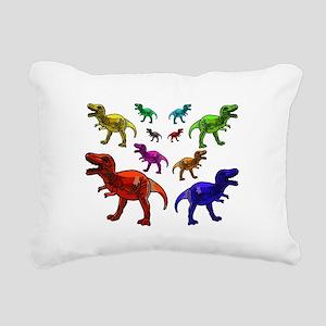 Rainbow Dinosaurs Rectangular Canvas Pillow