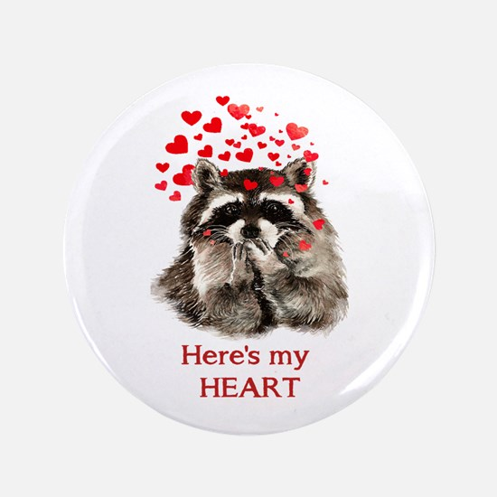 Here's My Heart Cute Raccoon Blowing Kisses Bu