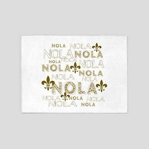 NOLA NOLA NOLA Gold Fleur de Lis 5'x7'Area Rug