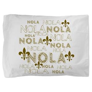 NOLA NOLA NOLA Gold Fleur de Lis Pillow Sham