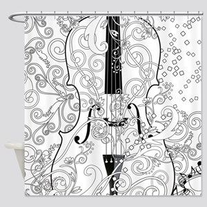 Adult Coloring Canvas Violin Colori Shower Curtain