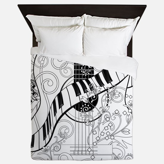 Adult Coloring Guitar Piano Music Art Queen Duvet