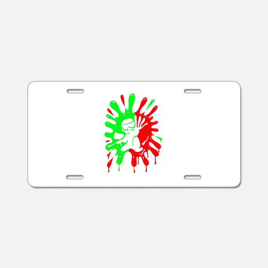 Green And Red Paintball Aluminum License Plate