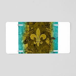 Fleur de lis Gold and Turqu Aluminum License Plate