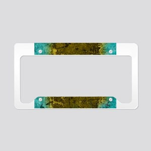 Fleur de lis Gold and Turquoi License Plate Holder