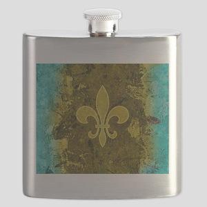 Fleur de lis Gold and Turquoise Flask
