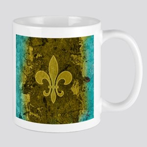 Fleur de lis Gold and Turquoise Mugs