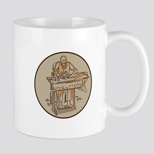 Tailor Upholsterer Sewing Machine Drawing Mugs