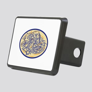 St George Fighting Dragon Drawing Hitch Cover