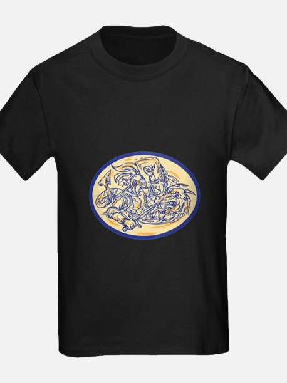 St George Fighting Dragon Drawing T-Shirt