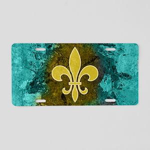 Fleur de lis gold turquoise Aluminum License Plate