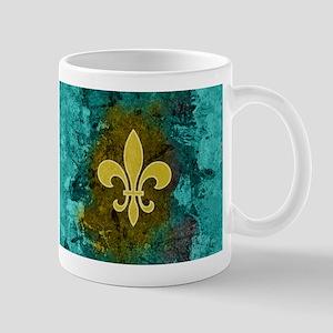 Fleur de lis gold turquoise Mugs