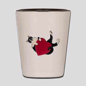 Black White Cat Heart Shot Glass