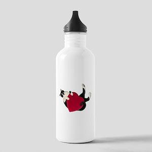 Black White Cat Heart Water Bottle
