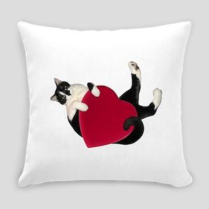 Black White Cat Heart Everyday Pillow