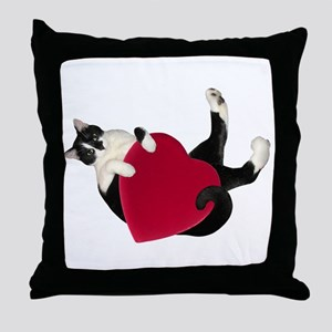 Black White Cat Heart Throw Pillow