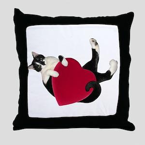 Black White Cat Heart Throw Pillow