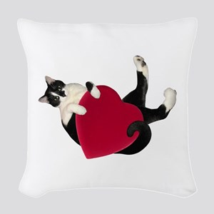 Black White Cat Heart Woven Throw Pillow