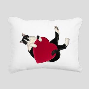 Black White Cat Heart Rectangular Canvas Pillow