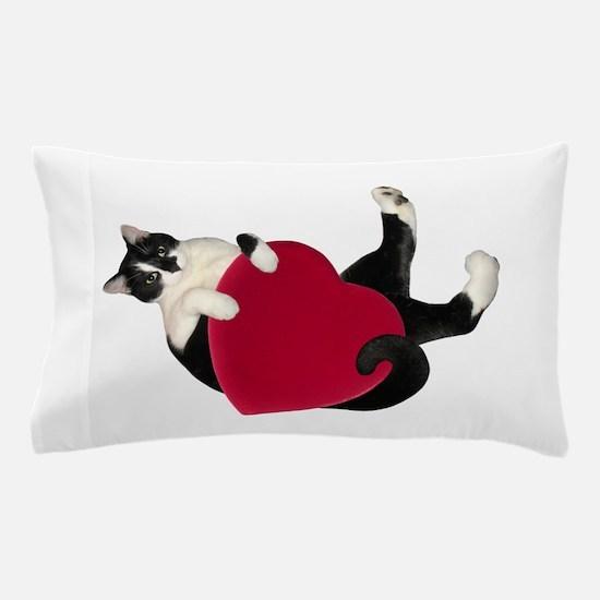 Black White Cat Heart Pillow Case